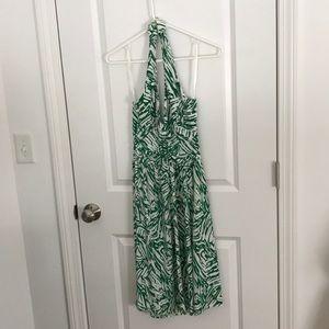 Green and white Arden B halter dress.